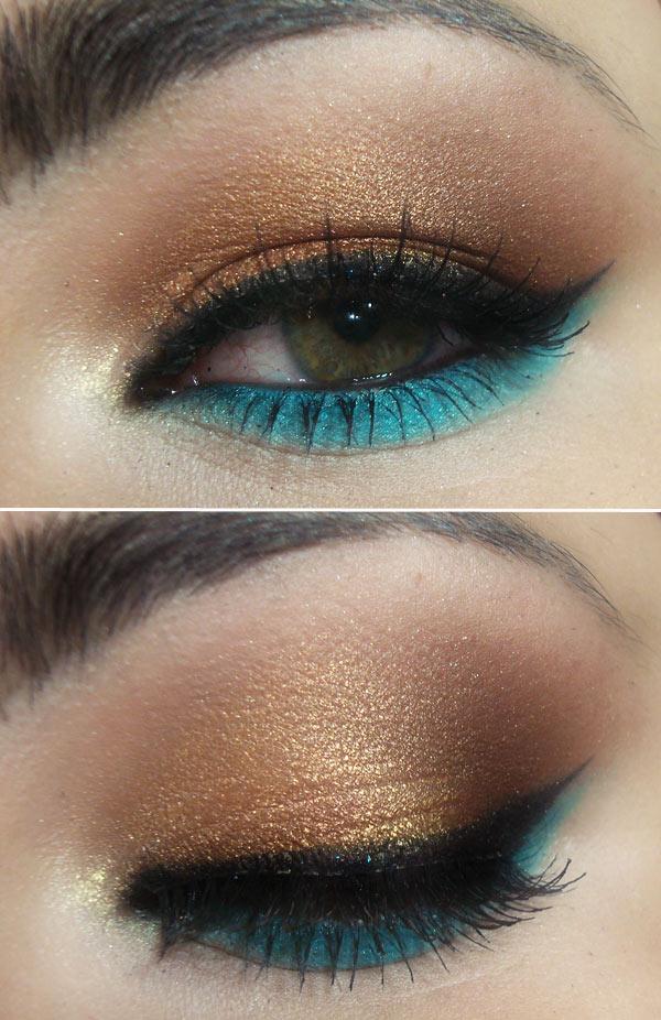 makeup-demi-lovato-gold-blue