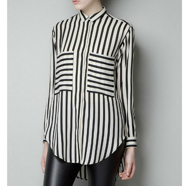 Vertical-Stripes-Loose-Asymmetric-Chiffon-Long-Sleeved-Shirt-WF-3885